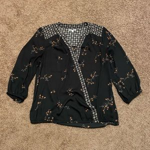 Maurices floral patterned black blouse